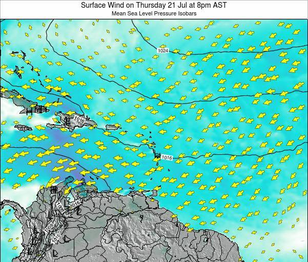 Saint Lucia Surface Wind on Tuesday 05 Aug at 2am AST