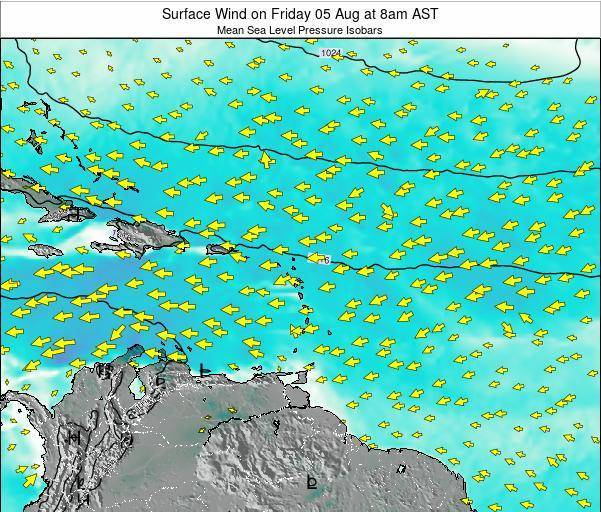 Dominican Republic Surface Wind on Thursday 30 May at 2pm AST map