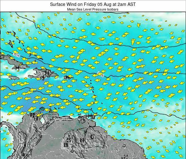 Saint Lucia Surface Wind on Sunday 26 May at 8pm AST