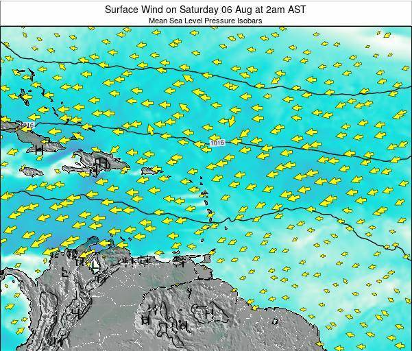 Saint Lucia Surface Wind on Tuesday 30 Aug at 8am AST