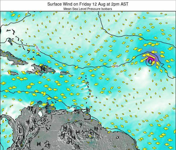 Saint Lucia Surface Wind on Wednesday 30 Apr at 2am AST