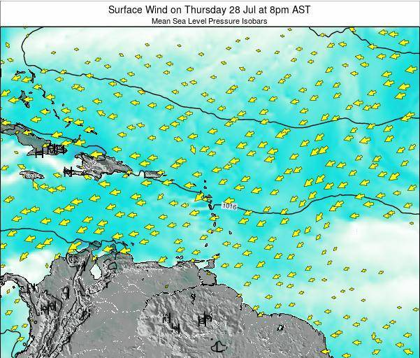 Saint Lucia Surface Wind on Monday 04 Aug at 2am AST