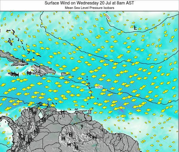 Saint Lucia Surface Wind on Tuesday 07 Apr at 2am AST