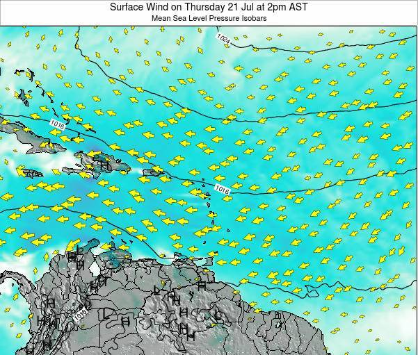 Saint Lucia Surface Wind on Monday 21 Apr at 8am AST