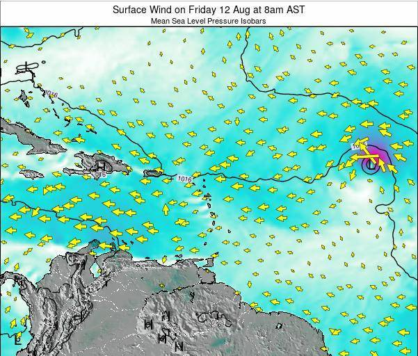 Saint Lucia Surface Wind on Friday 03 Jun at 2pm AST