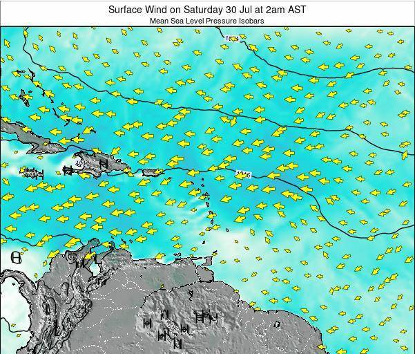 Saint Lucia Surface Wind on Saturday 15 Mar at 2pm AST