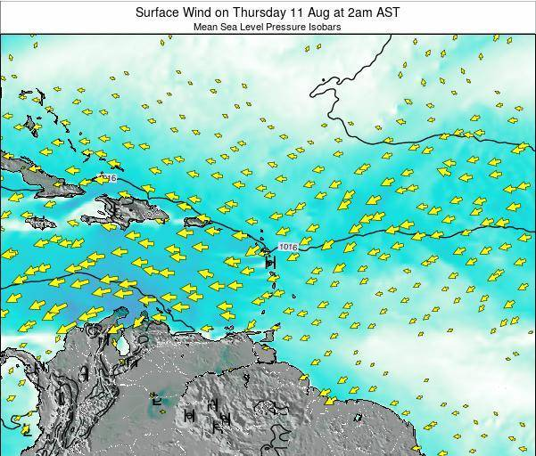 British Virgin Islands Surface Wind on Monday 28 Jul at 8am AST