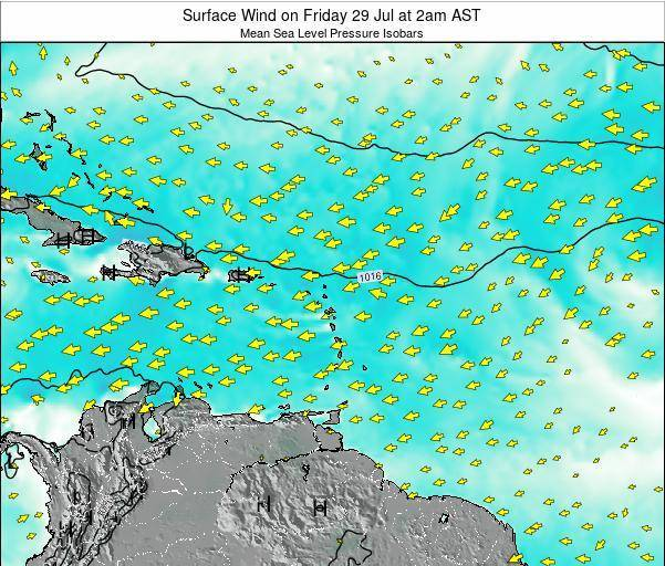 British Virgin Islands Surface Wind on Tuesday 18 Mar at 2am AST