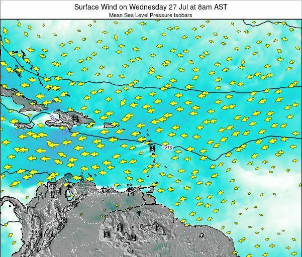 Barbados Surface Wind on Sunday 23 Jun at 8pm AST