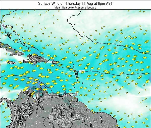 Saint Lucia Surface Wind on Sunday 29 Jul at 2pm AST map