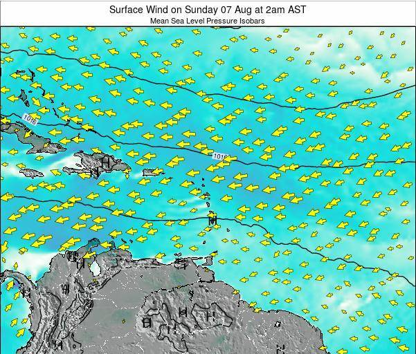 Saint Lucia Surface Wind on Saturday 29 Sep at 2pm AST map