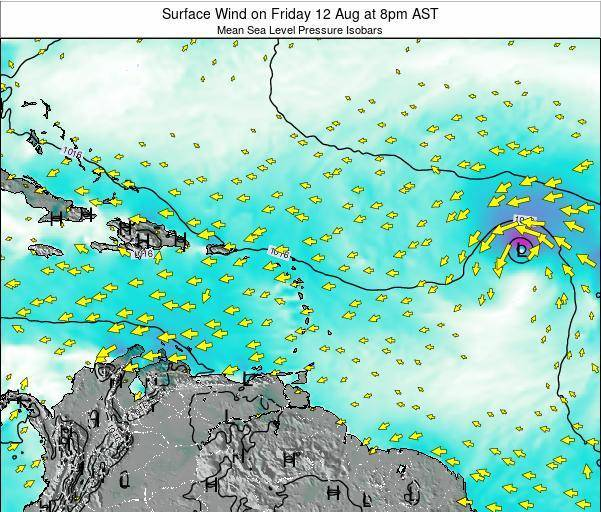 Saint Lucia Surface Wind on Monday 25 Feb at 8am AST map