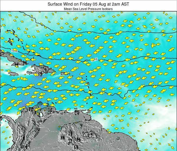 British Virgin Islands Surface Wind on Sunday 24 Jul at 8pm AST