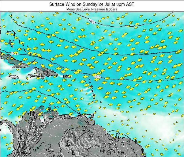 Barbados Surface Wind on Thursday 23 May at 8pm AST