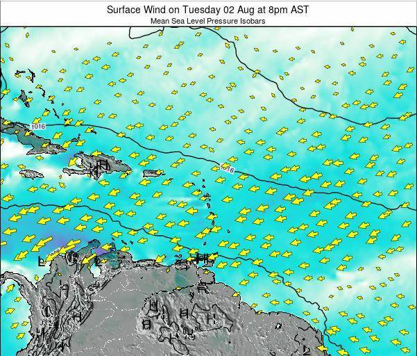 Saint Lucia Surface Wind on Monday 24 Nov at 8am AST