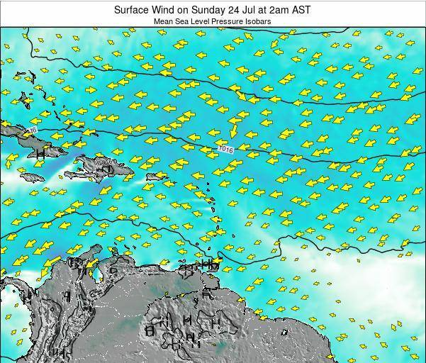 Saint Lucia Surface Wind on Thursday 20 Jun at 2pm AST
