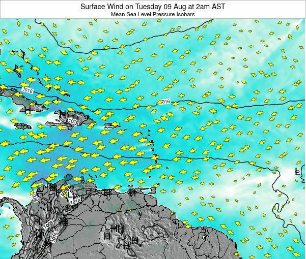 Saint Lucia Surface Wind on Wednesday 02 Dec at 8am AST