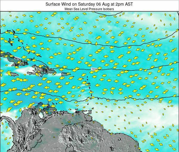 Saint Lucia Surface Wind on Thursday 30 Jun at 2pm AST