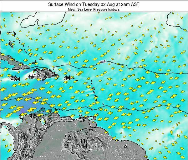 Saint Lucia Surface Wind on Wednesday 14 Oct at 8am AST