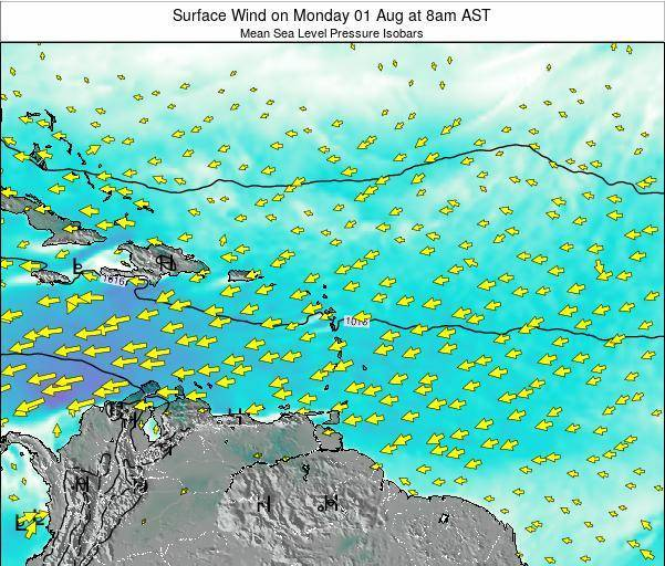 Saint Lucia Surface Wind on Saturday 01 Nov at 2pm AST