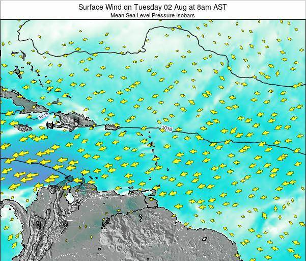 Saint Lucia Surface Wind on Wednesday 16 Apr at 8pm AST
