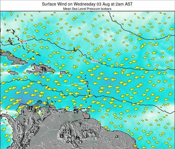 Saint Lucia Surface Wind on Wednesday 27 Aug at 2pm AST