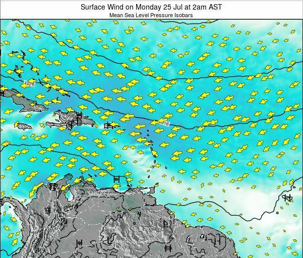 British Virgin Islands Surface Wind on Tuesday 22 Jul at 8am AST