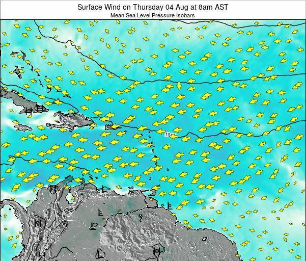 Saint Lucia Surface Wind on Sunday 19 May at 8pm AST