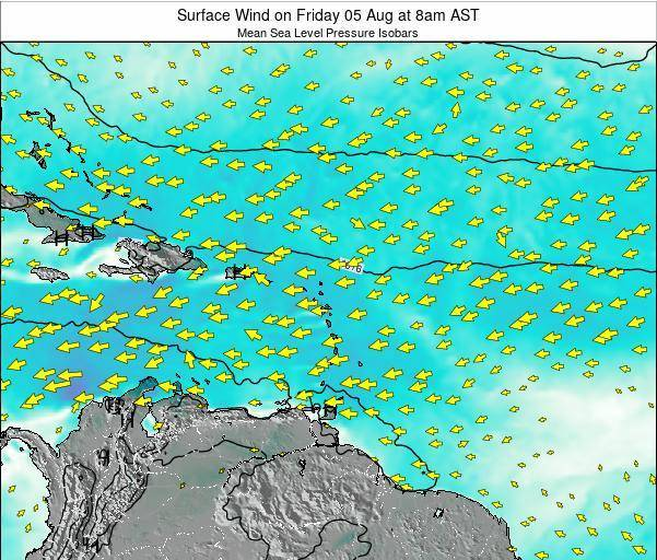 British Virgin Islands Surface Wind on Wednesday 12 Mar at 2pm AST