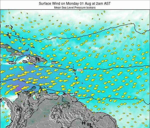 British Virgin Islands Surface Wind on Thursday 24 Aug at 2pm AST