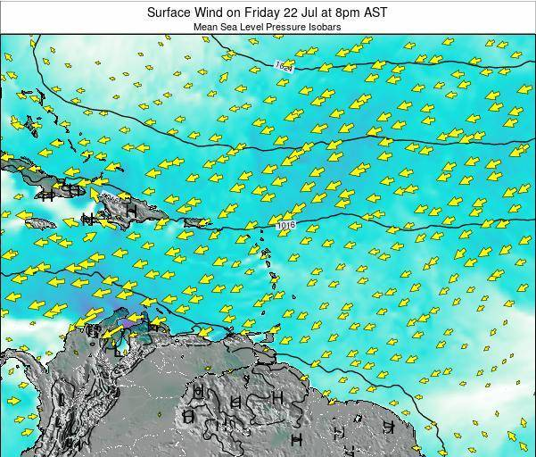 Anguilla Surface Wind on Wednesday 22 May at 8pm AST map