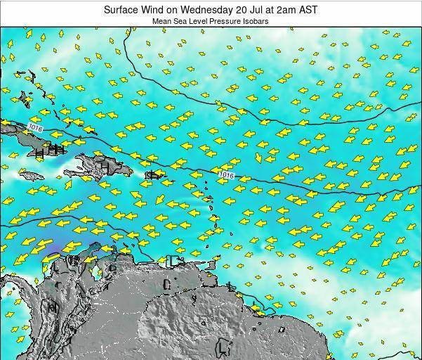 British Virgin Islands Surface Wind on Monday 27 Jun at 8am AST