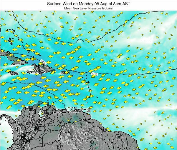 British Virgin Islands Surface Wind on Tuesday 17 Jan at 8am AST