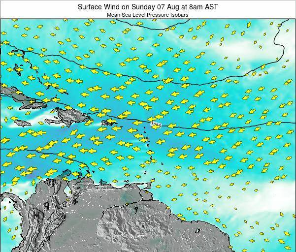 Anguilla Surface Wind on Friday 25 Jul at 8am AST map