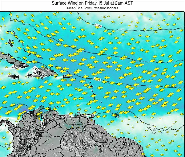 Anguilla Surface Wind on Saturday 14 Dec at 2pm AST map