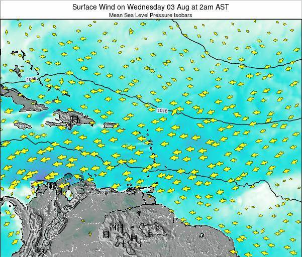 Guadeloupe Surface Wind on Friday 24 May at 2pm AST map