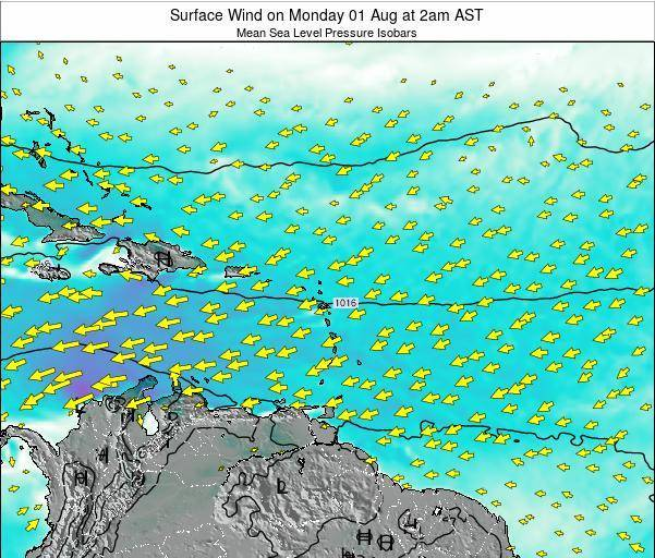Anguilla Surface Wind on Tuesday 29 Jul at 2pm AST map