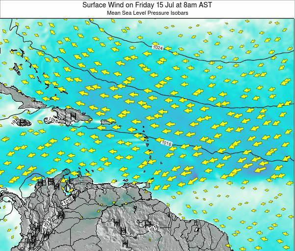 Anguilla Surface Wind on Friday 24 May at 8pm AST map