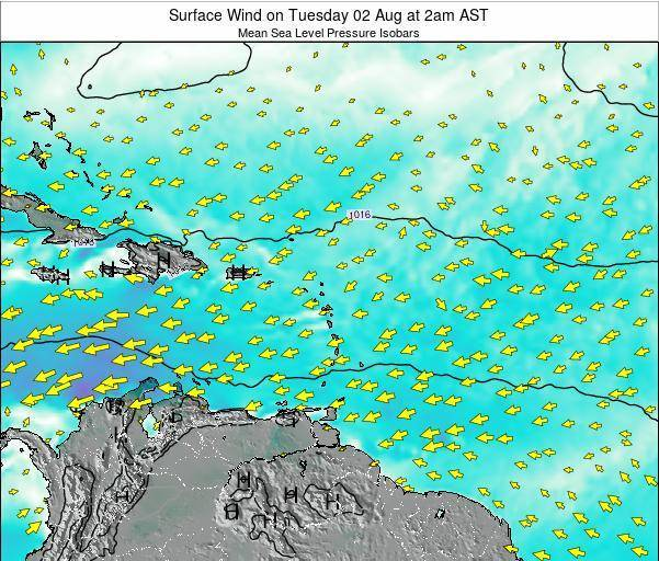 Anguilla Surface Wind on Monday 10 Mar at 8pm AST map