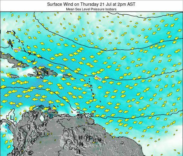 Anguilla Surface Wind on Thursday 13 Mar at 2pm AST map