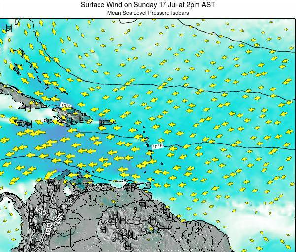 Anguilla Surface Wind on Monday 14 Jul at 2am AST map