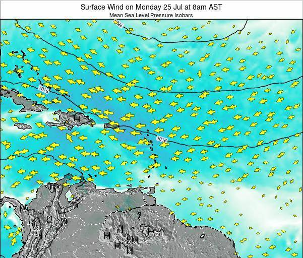Dominican Republic Surface Wind on Wednesday 19 Jun at 8pm AST map