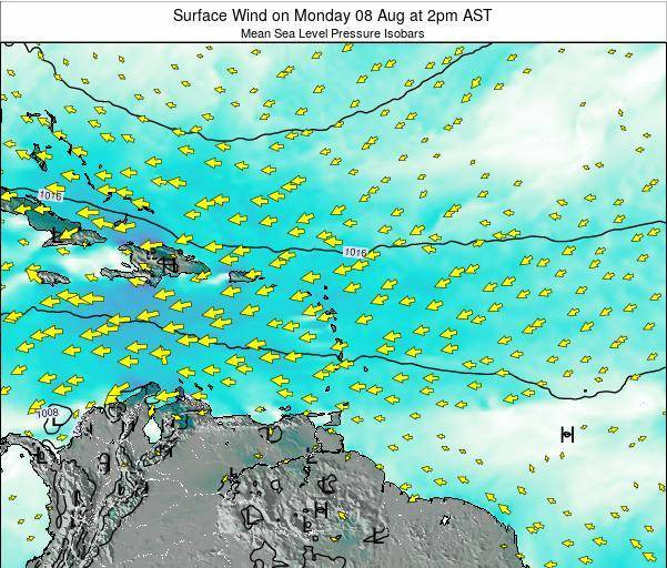 Saint Lucia Surface Wind on Wednesday 23 Jul at 8pm AST