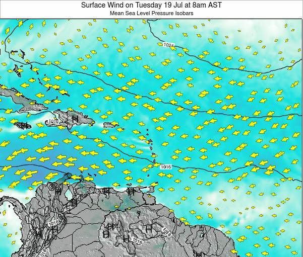 Saint Lucia Surface Wind on Thursday 17 Apr at 2pm AST