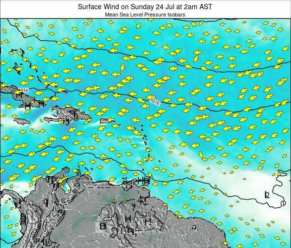 Saint Lucia Surface Wind on Friday 25 Apr at 2am AST