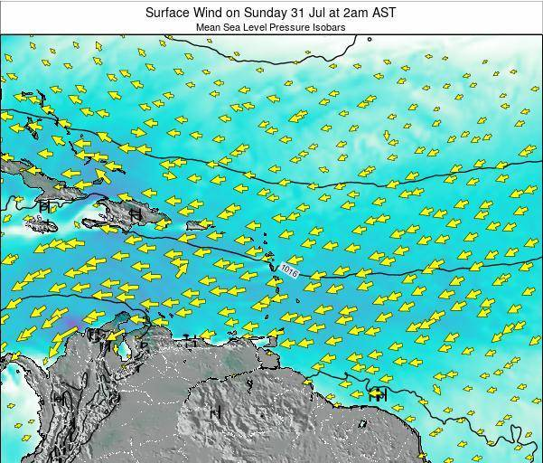 Saint Lucia Surface Wind on Saturday 30 Jul at 8pm AST