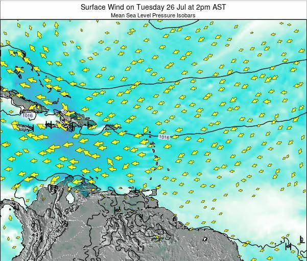 Anguilla Surface Wind on Friday 21 Jun at 2am AST map