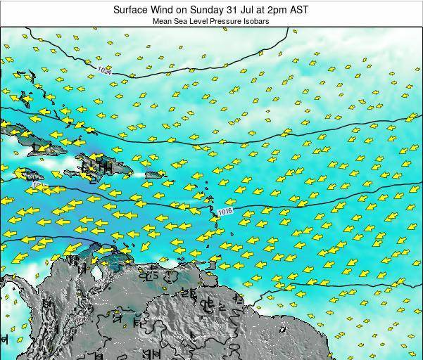 Saint Lucia Surface Wind on Saturday 19 Apr at 8pm AST