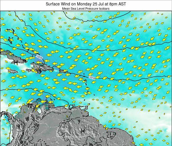Saint Lucia Surface Wind on Tuesday 03 May at 2pm AST
