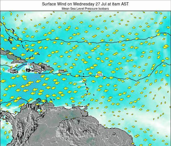 Saint Lucia Surface Wind on Friday 25 Apr at 8pm AST